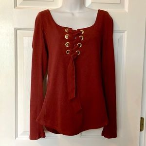 Free People ❤️ Wine Lace Up Long Sleeve Top